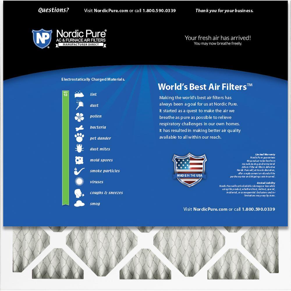 Nordic Pure 25x25x1 MERV 13 Tru Mini Pleat AC Furnace Air Filters 4 Pack 24/_3//4x24/_3//4