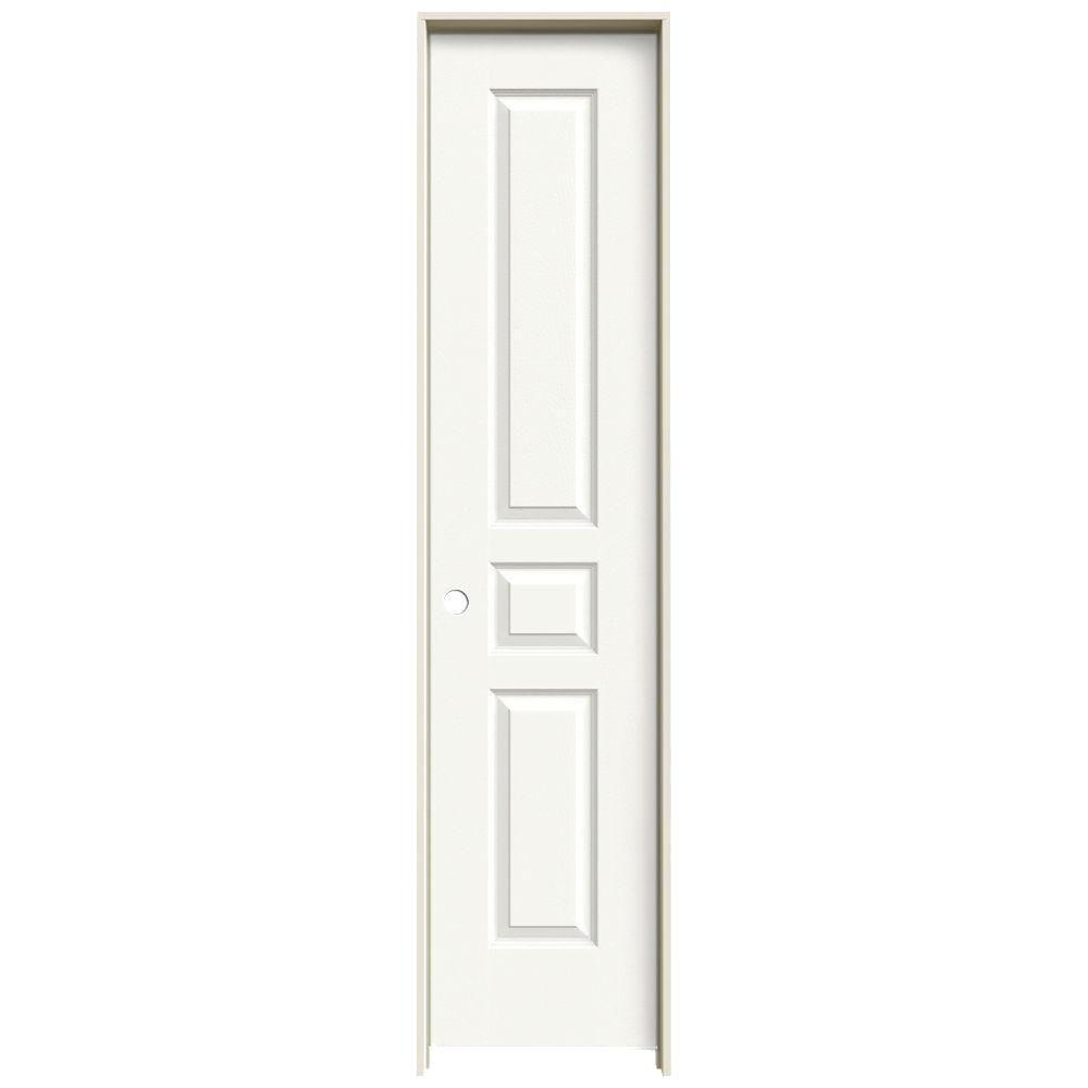 JELD-WEN 18 in. x 80 in. Avalon White Painted Right-Hand Textured Hollow Core Molded Composite MDF Single Prehung Interior Door