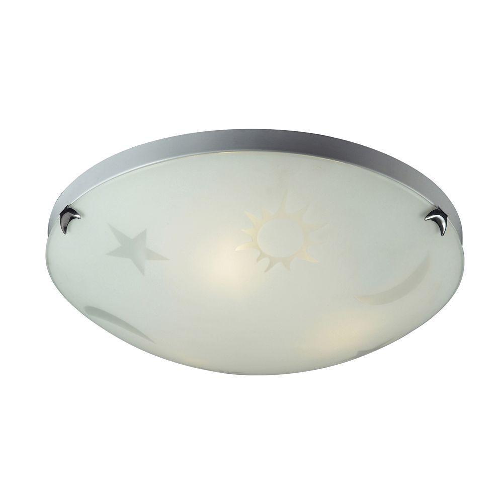 Titan Lighting Novelty 3-Light Satin Nickel Flushmount