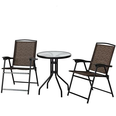3-Piece Metal Round Outdoor Bistro Furniture Set Patio Folding Chairs and Table