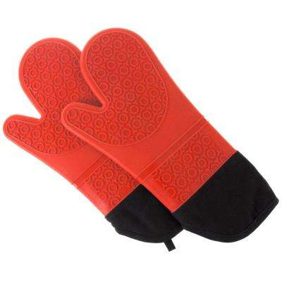 Silicone Red Oven Mitts with Quilted Lining (2-Pack)