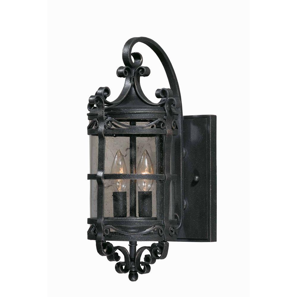 Illumine 2-Light Outdoor Oil Rubbed Bronze Wall Mount with Seeded Glass