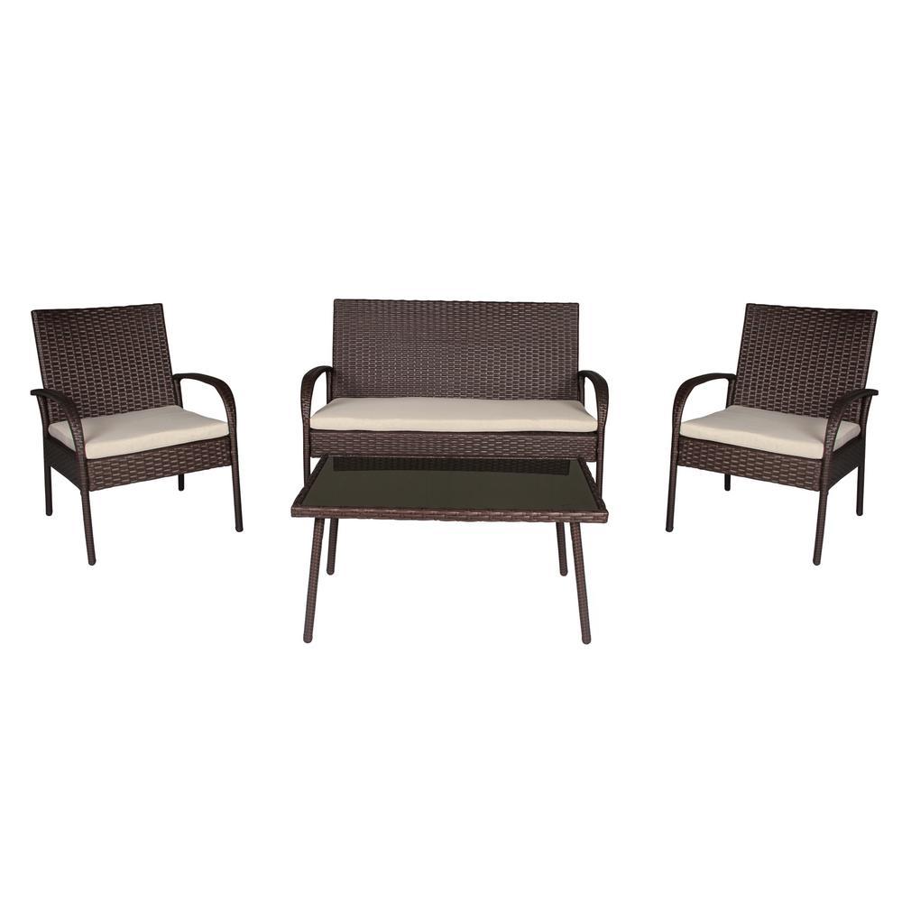 Alfena Brown 4-Piece Wicker Conversation Set with Tan Cushions