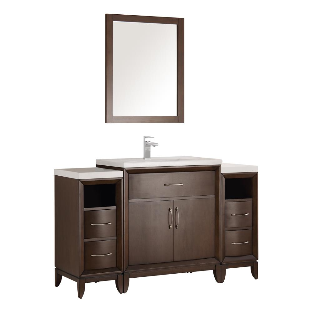 Fresca Cambridge 54 in. Vanity in Antique Coffee with Porcelain ...