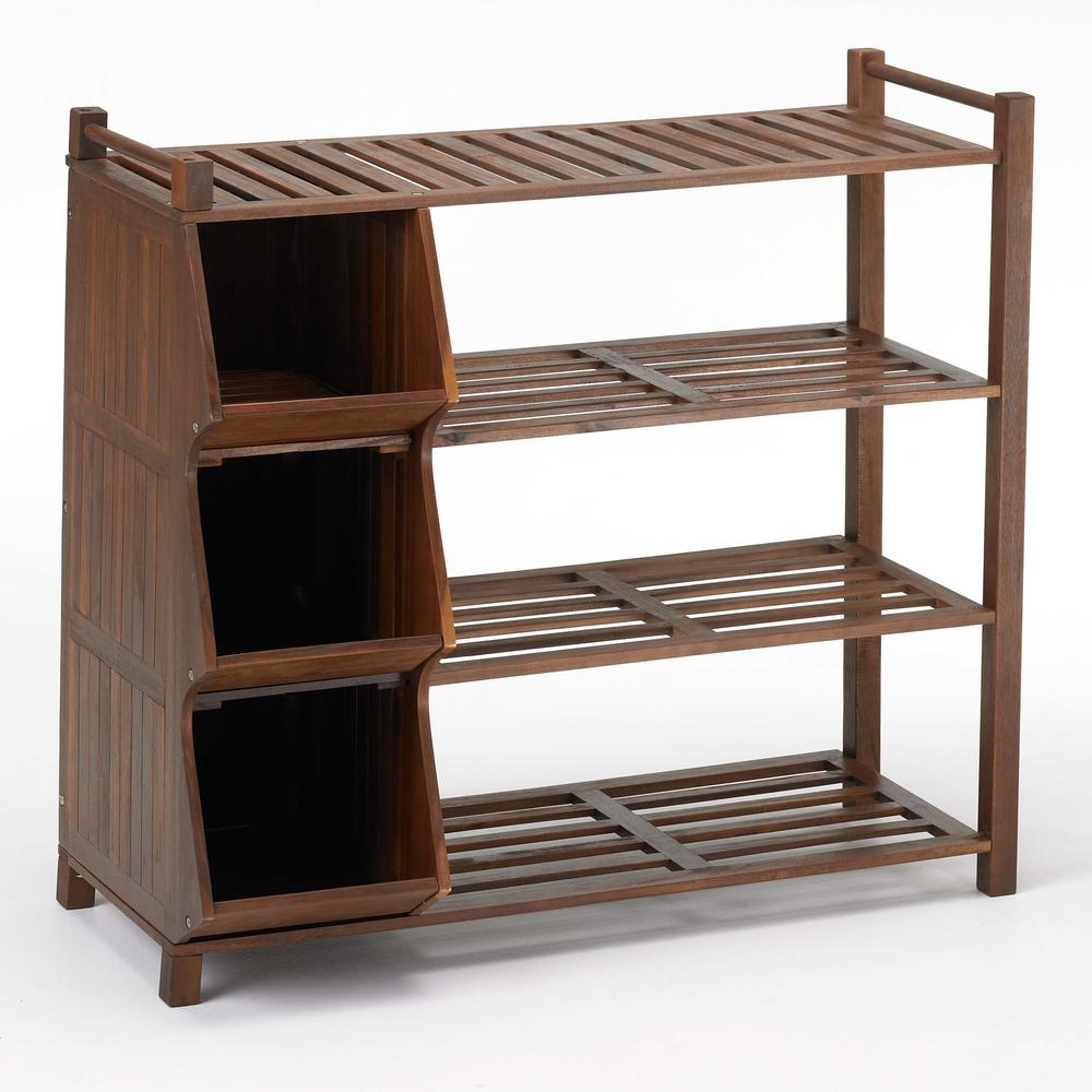 9-Pair Shoe Organizer with Cubby, Oil-Based Stain/Brown