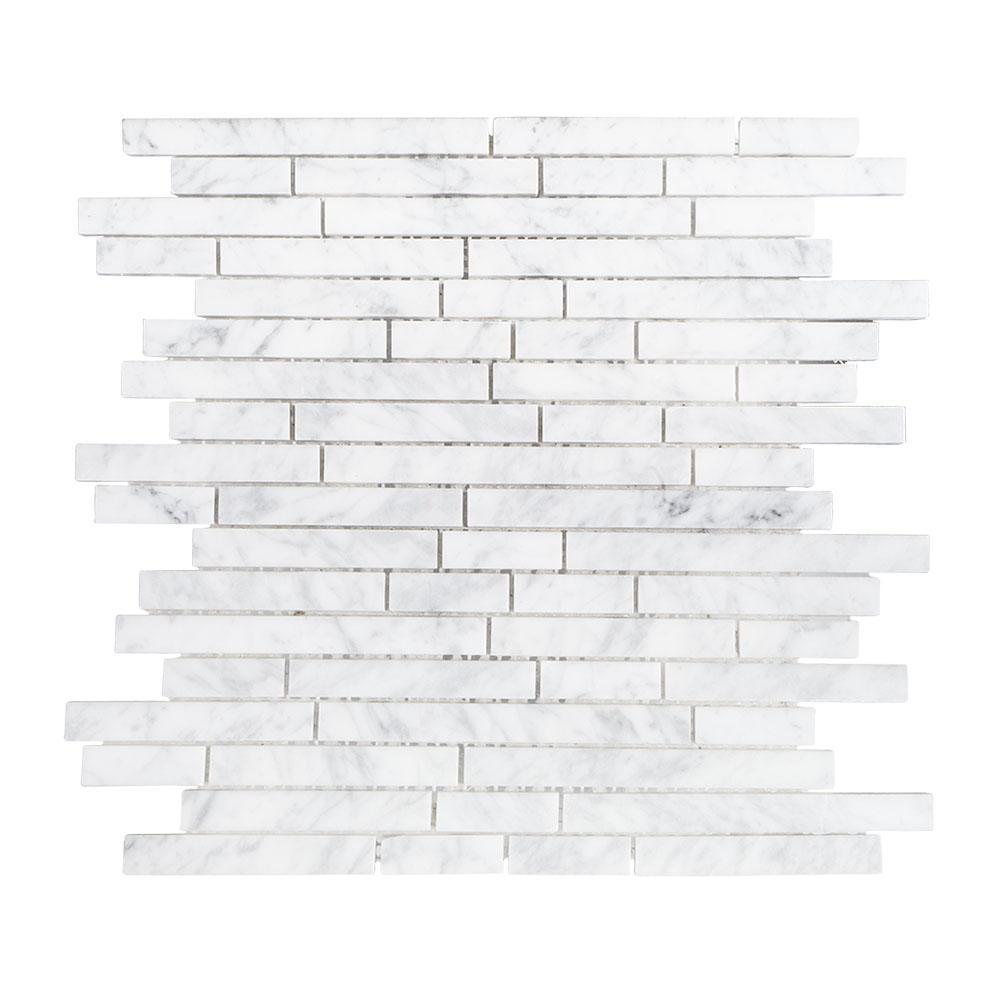 Jeffrey Court Stargazer White 11.50 in. x 11.875 in. x 8 mm Interlocking Polished Marble Mosaic Tile