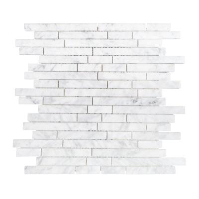 Stargazer White 11.50 in. x 11.875 in. x 8 mm Interlocking Polished Marble Mosaic Tile