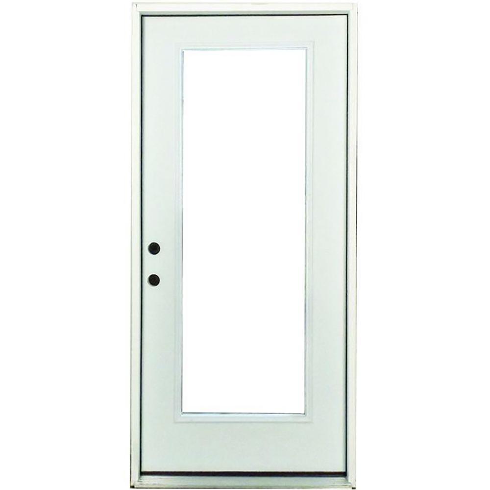 Steves & Sons 32 in. x 80 in. Premium Right-Hand Full Lite Primed White Steel Prehung Front Door