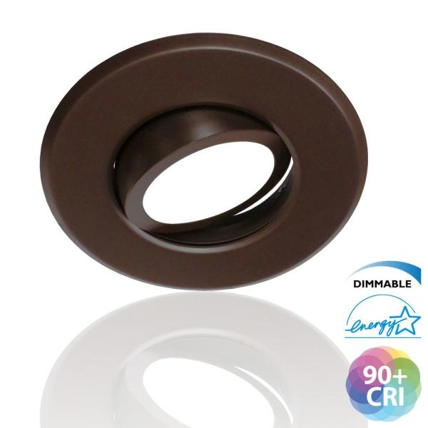 5/6 in. 3000K Oil Rubbed Bronze  Integrated LED Recessed Gimbal Trim