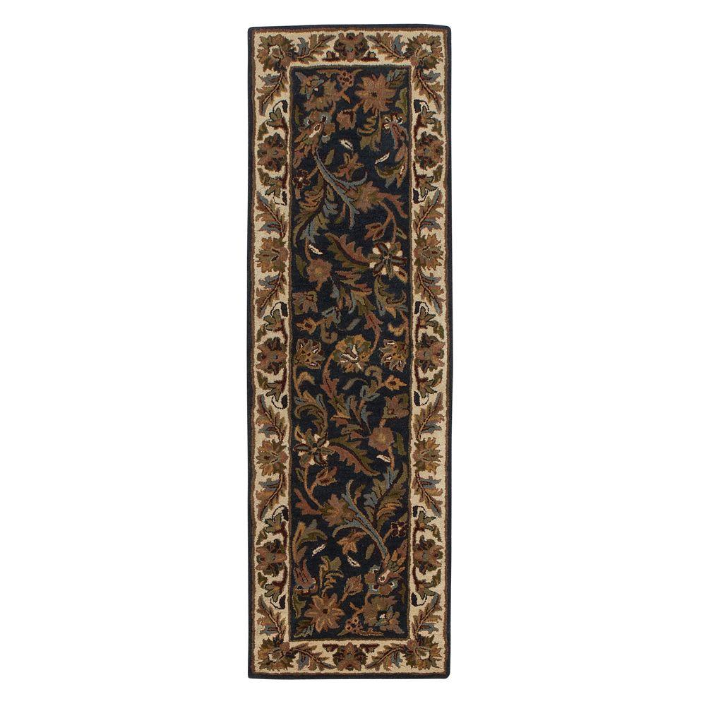 Home Decorators Collection Dudley Navy/Beige 2 ft. 3 in. x 11 ft. 6 in. Rug Runner