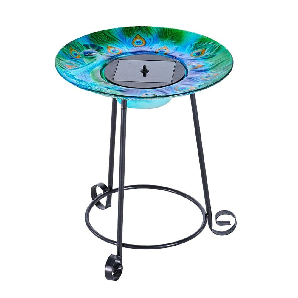 smart solar argus peacock glass solar birdbath 20221r01 the home depot. Black Bedroom Furniture Sets. Home Design Ideas