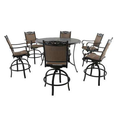 Tuscan Estate Aluminum Sling 7 Piece Outdoor Bar Height ...