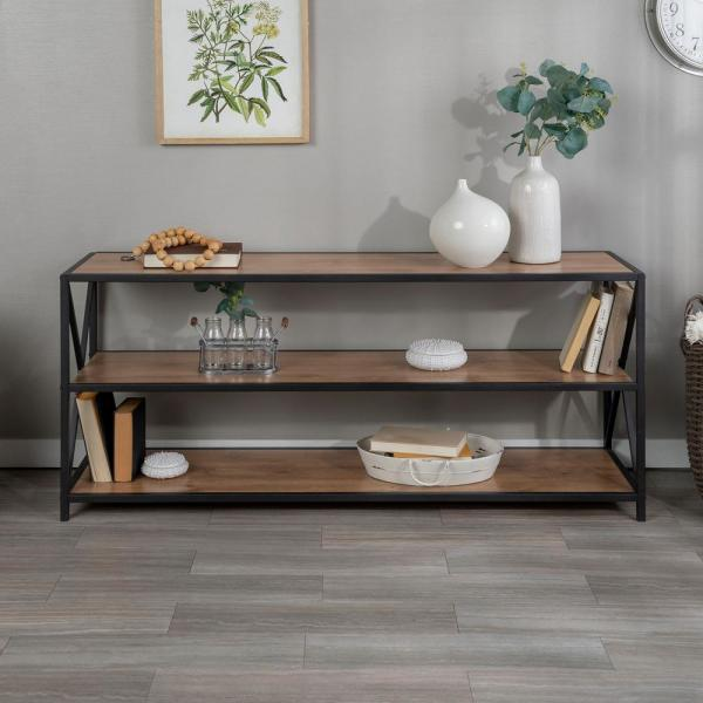 Walker Edison Furniture Company X Frame Barnwood Metal And Wood Wide Media Bookshelf Hds60xmwbw The Home Depot
