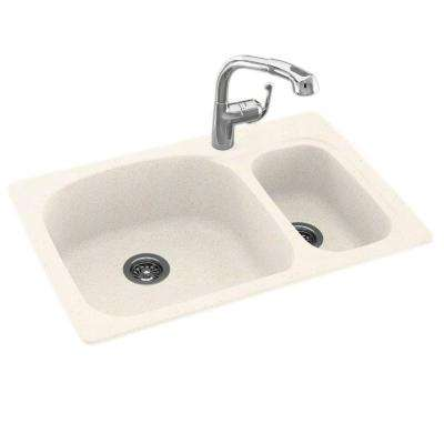 Dual  Drop-in Undermount Granite Composite 33 in. 1-Hole Double Bowl Kitchen Sink with Faucet in Baby's Breath