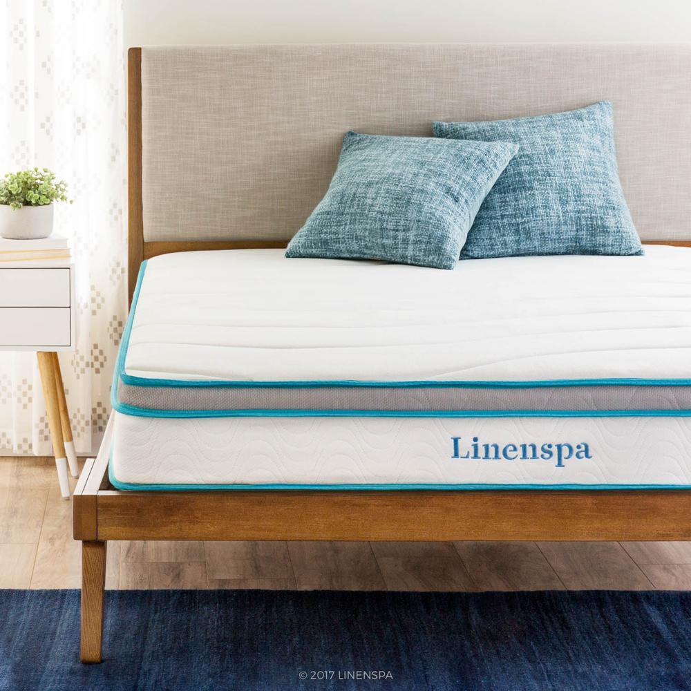 linenspa 8 in twin memory foam and innerspring hybrid mattress ls08ttmfsp the home depot. Black Bedroom Furniture Sets. Home Design Ideas