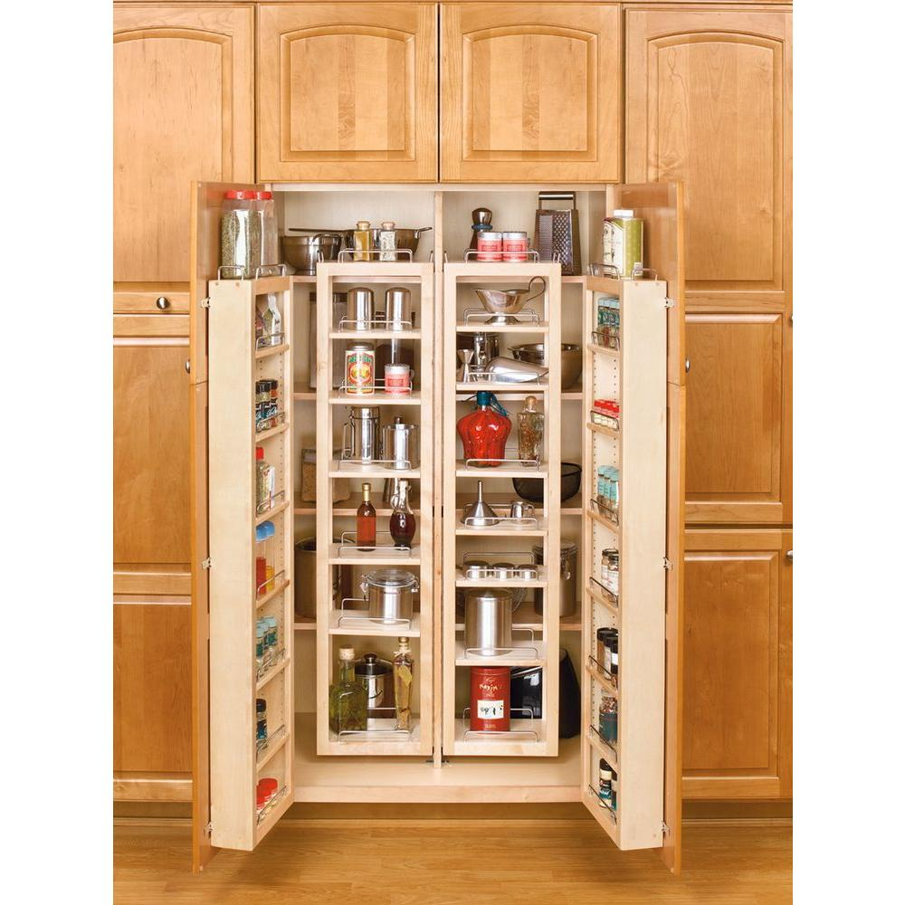 rev a shelf 57 in h x 12 in w x 7 5 in d wood swing out cabinet pantry kit 4wp18 57 kit the. Black Bedroom Furniture Sets. Home Design Ideas