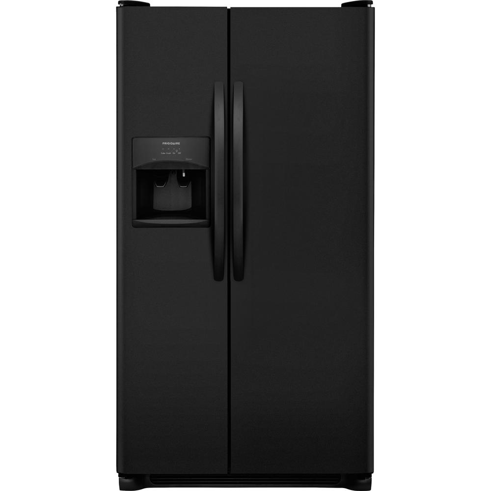 refrigerator black. side by refrigerator in black -