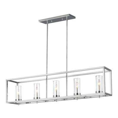 Zire 5-Light Chrome Island Pendant with Clear Glass Shades
