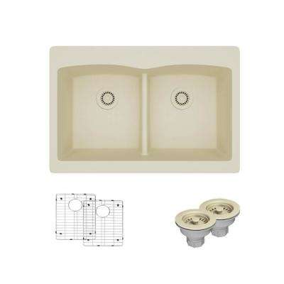 Drop-In Composite Granite 33 in. Double Bowl Kitchen Sink in Ecru