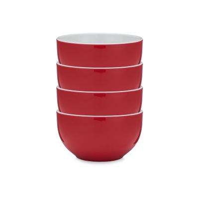 Bistro 4-Piece Red Melamine Cereal Bowl Set