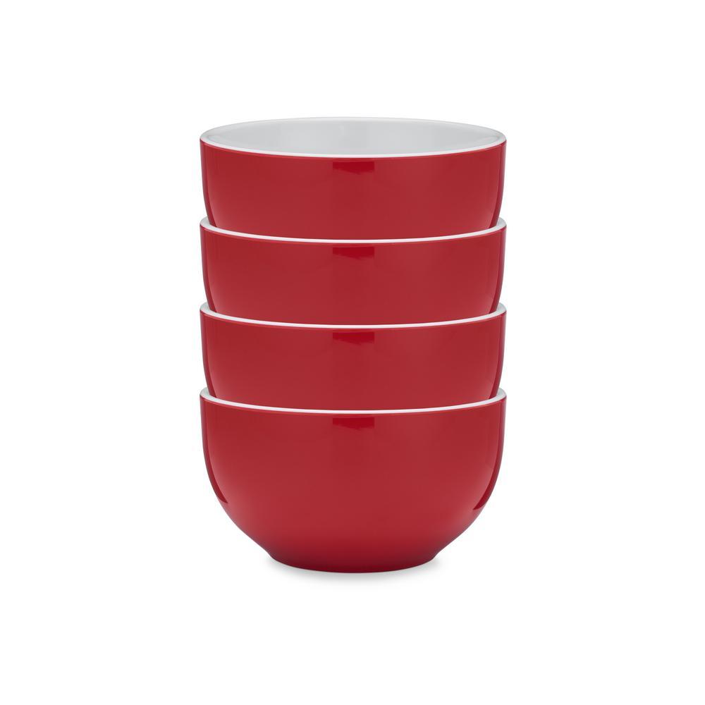 Bistro 4-Piece Red Melamine Cereal Bowl Set