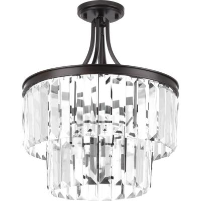Glimmer Collection 3-Light Antique Bronze Semi-Flush Mount