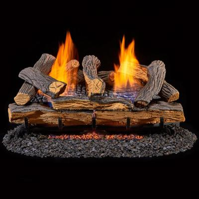 24 in. Vent-Free Gas Fireplace Logs with Remote in Split Red Oak