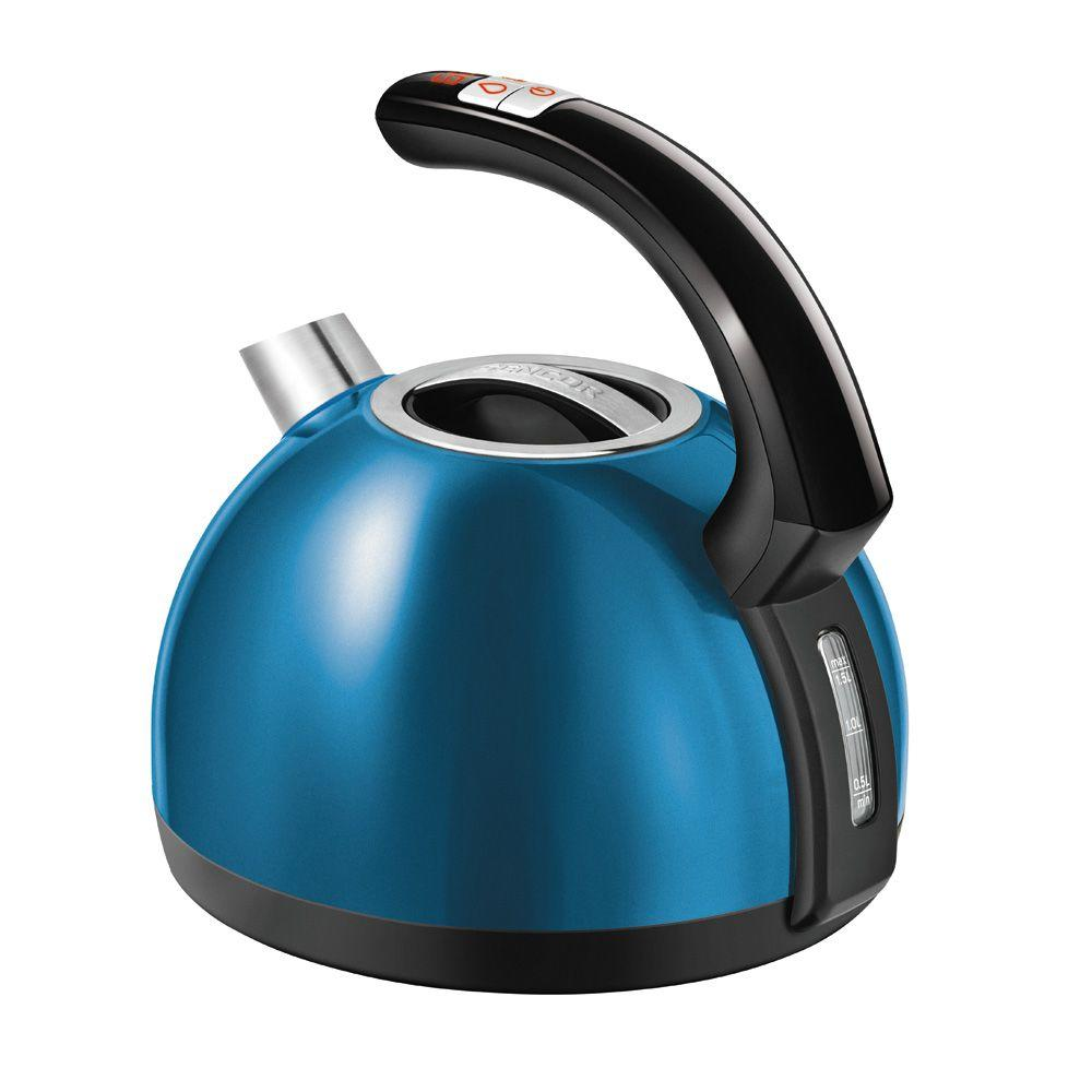 4.2-Cup Blue Electric Kettle with Temperature Control Electronic temperature control with setting adjustable to 122/140/158/185/212°F. LED display with the current temperature continuously shown in 1°F intervals integrated on the handle. Stainless steel design. Color: Blue.