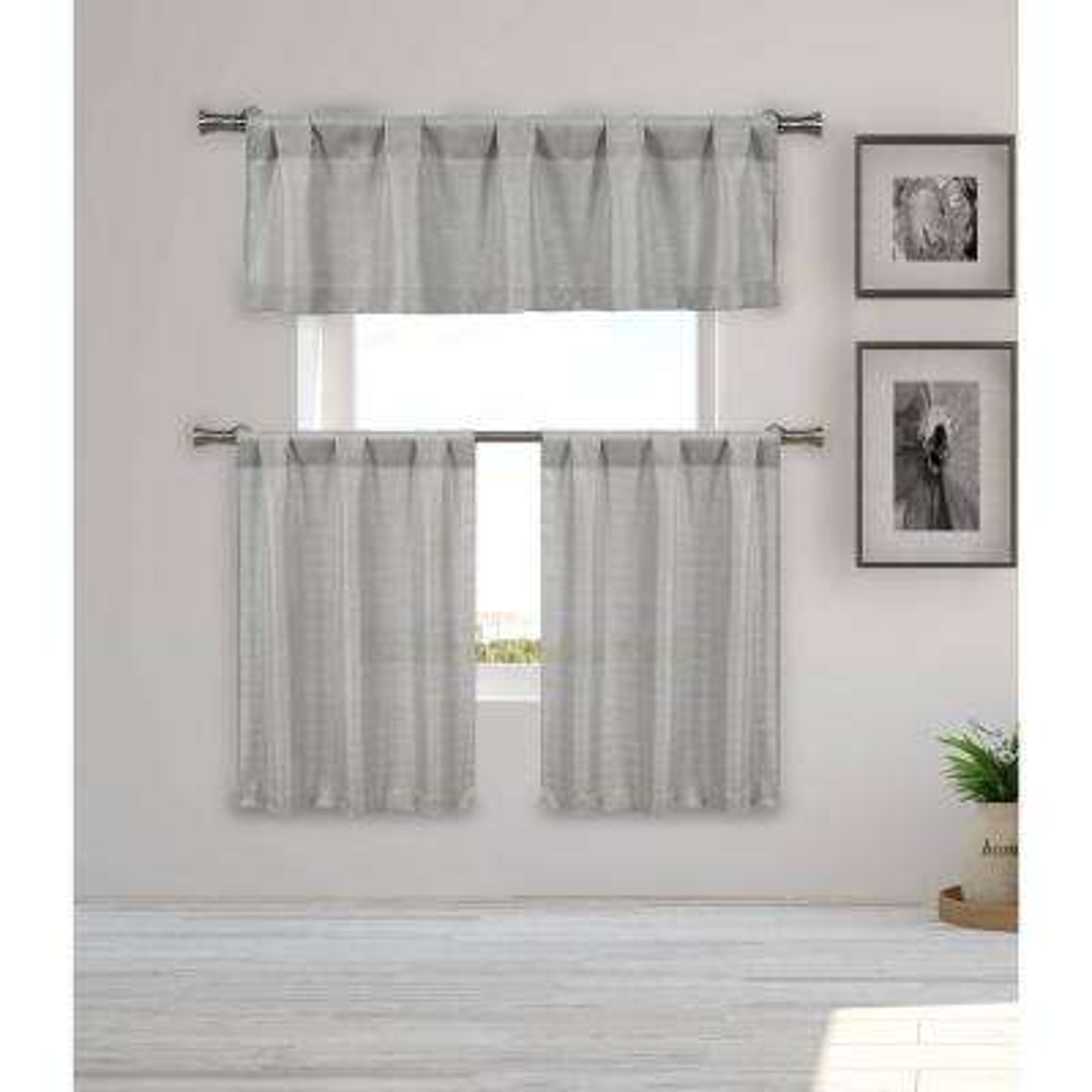 Kealy Silver Metallic Kitchen Curtain Set - 56 in. W x 15 in. L in (3-Piece)
