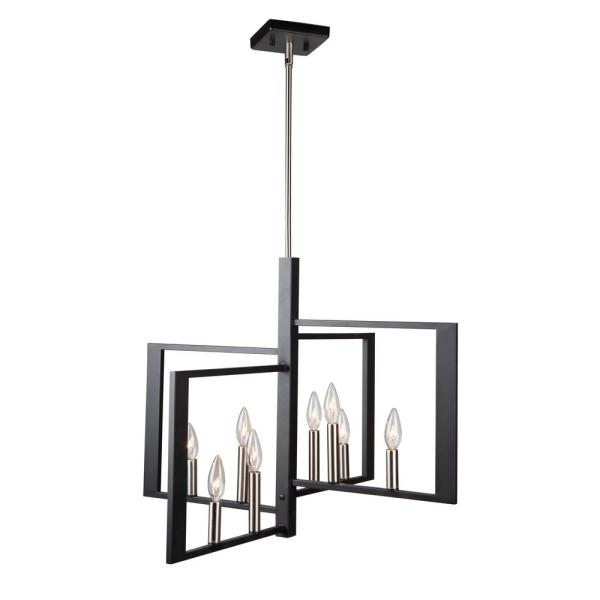 Sutherland 8-Light Black and Brushed Nickel Pendant