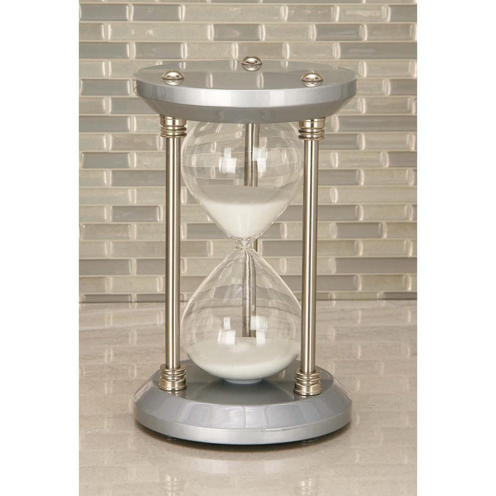 30-Minute Silver Wooden Hourglass 5 in. x 9 in. Sand Timer