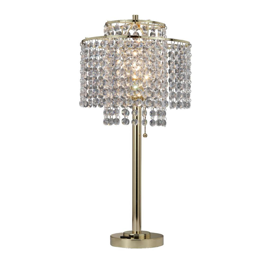 Ore International 26 In 2 Tier Holly Glam Gold Table Lamp