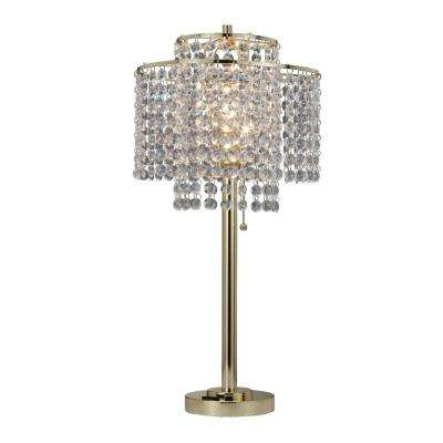 26 in. 2-Tier Holly Glam Gold Table Lamp with Charging Station and USB Port