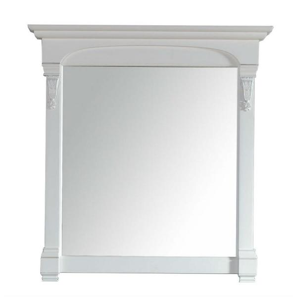 Brookfield 40 in. W x 42 in. H Framed Square Bathroom Vanity Mirror in Cottage White