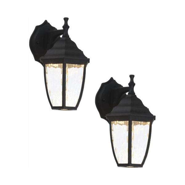 Black Outdoor LED Wall Lantern Sconce (2-Pack)