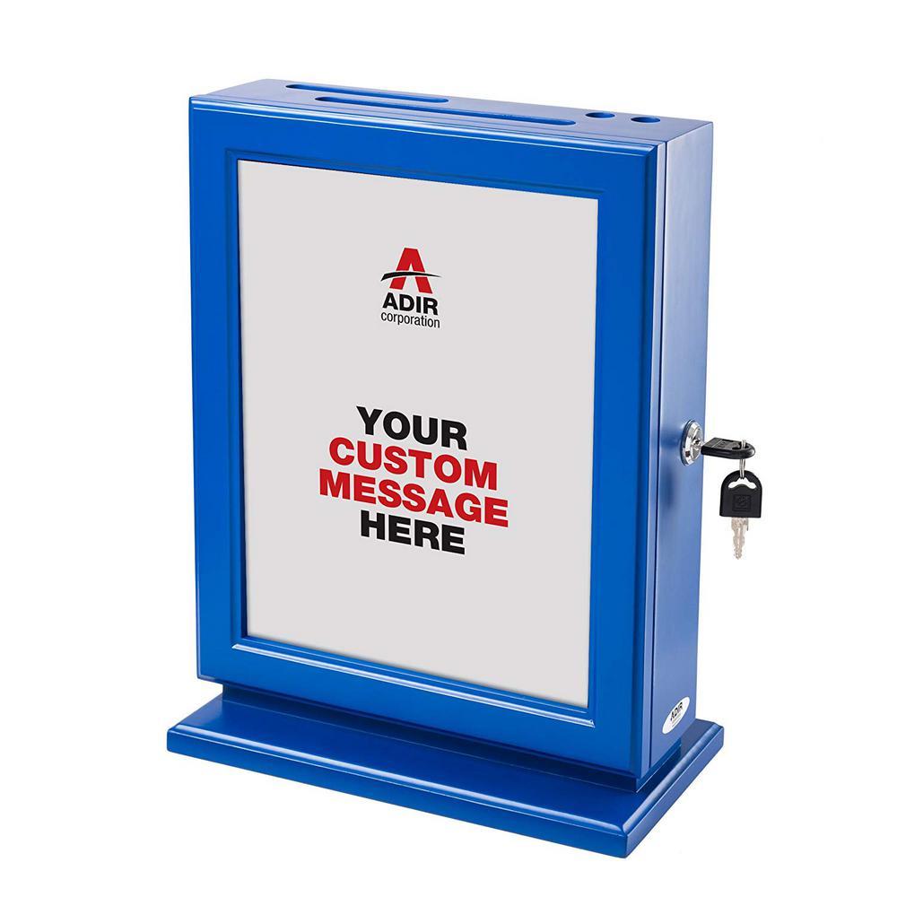 Customizable Wood Suggestion Box, Blue