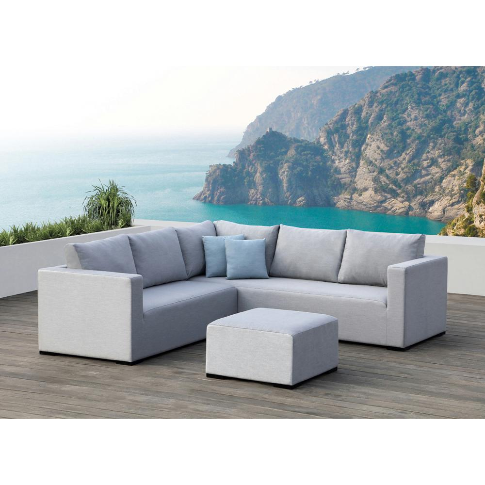 Ove Decors Gray Aluminum Outdoor Sectional Set Gray Cushions