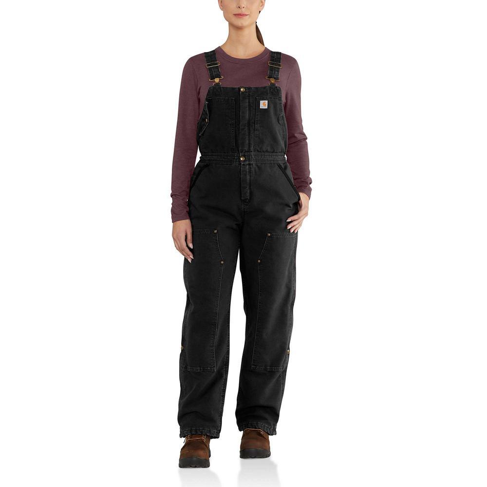 Carhartt Women's X-Small Tall Black Cotton Wildwood Quilt Bib Overalls