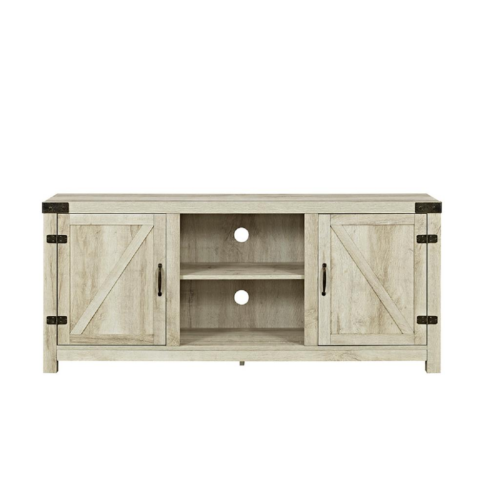 86edfadb2c14a Walker Edison Furniture Company 58 in. Barn Door TV Stand with Side Doors -  White