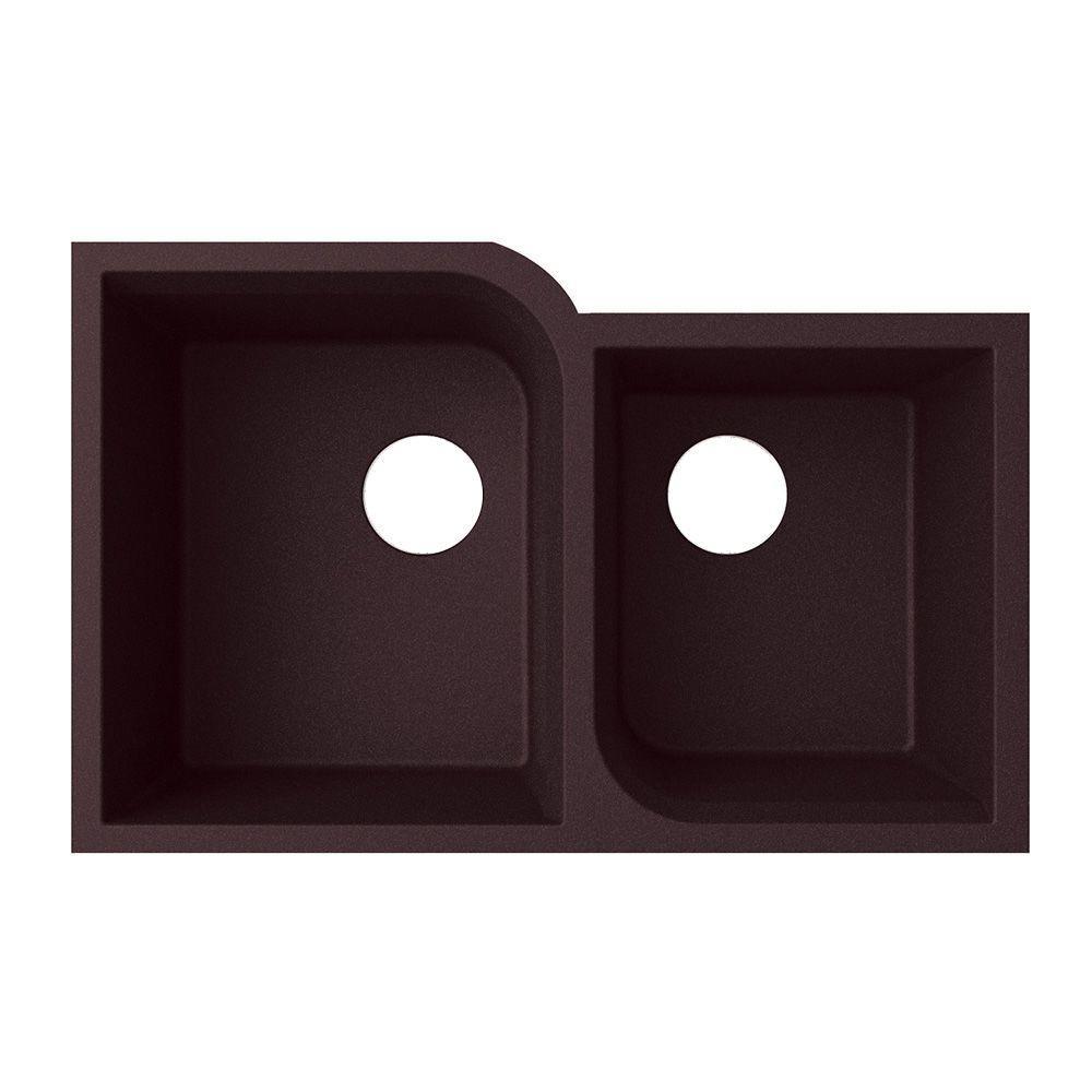 Undermount Granite 32 in. 0-Hole 55/45 Double Bowl Kitchen Sink in Nero