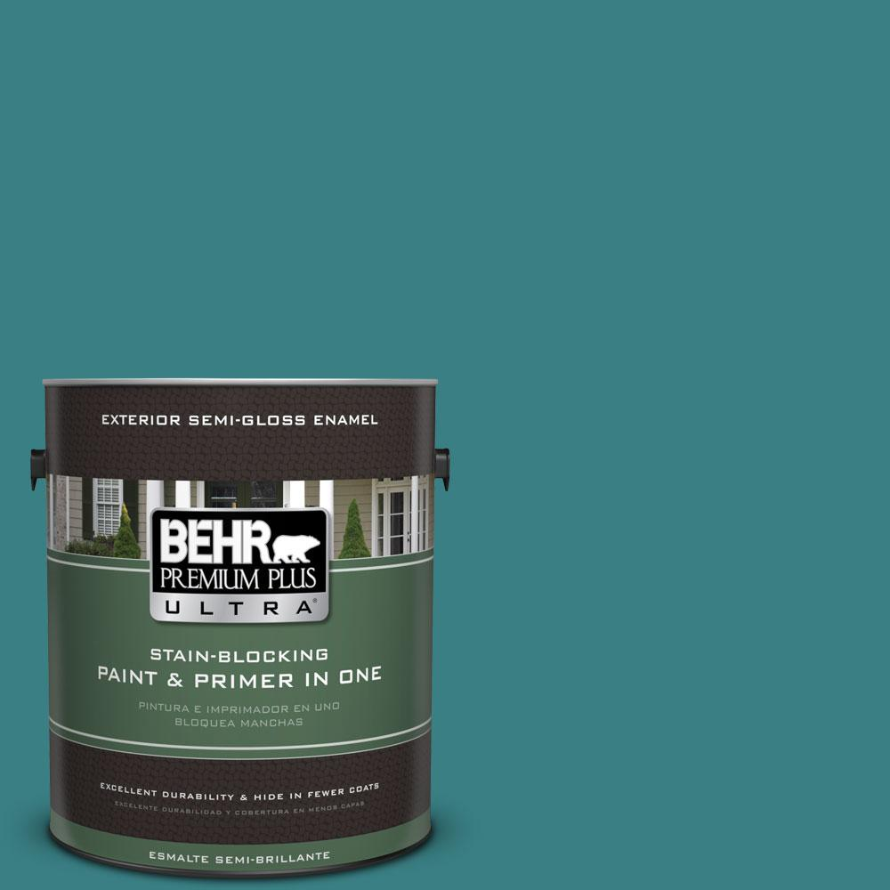 1-gal. #510D-7 Pacific Sea Teal Semi-Gloss Enamel Exterior Paint