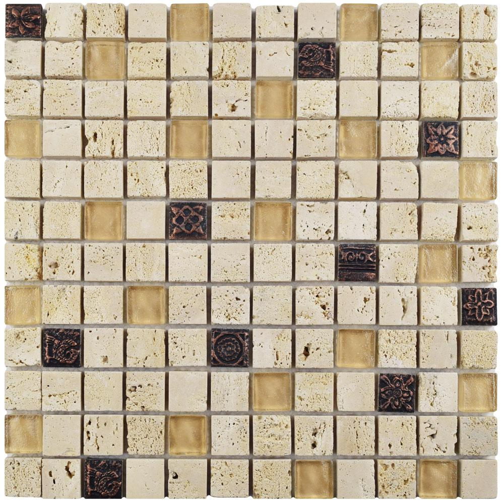 Merola Tile Cathedral Glouster Beige 12 in. x 12 in. x 8 mm Glass and Stone Mosaic Tile