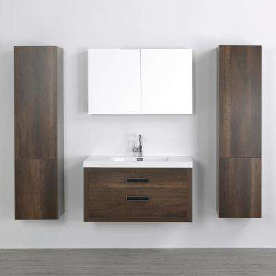 39.4 in. W x 19.5 in. H Bath Vanity in Brown with Resin Vanity Top in White with White Basin and Mirror