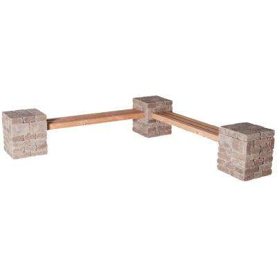 RumbleStone 100 in. x 24.5 in. x 14 in. Concrete Garden Bench Kit in Cafe