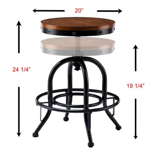 Southern Enterprises Christopher Industrial Adjustable Height Black Bar Stool Hd864365 The Home Depot