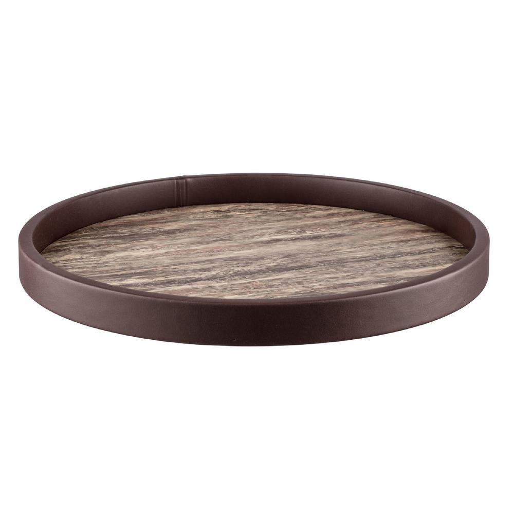 Brown Stone Vinyl 14 in. Round Serving Tray
