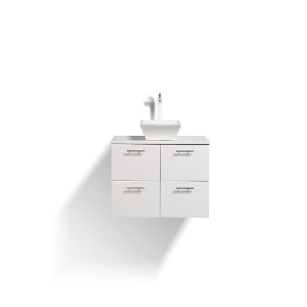Luxury 40 in. W x 20 in. D Vanity in White with Vanity Top in White with White Basin