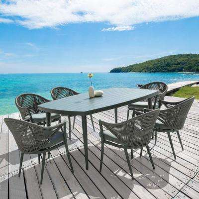 Patio 7-Piece Aluminum Outdoor Dining Set with Grey Cushion
