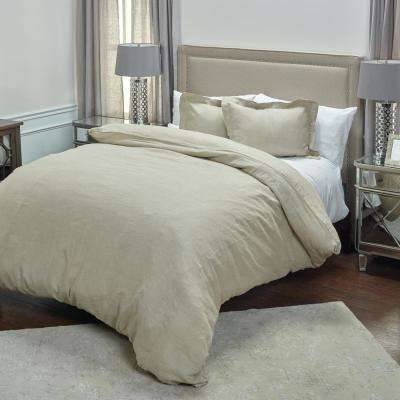 Stone Solid Pattern King Linen Duvet Bedding