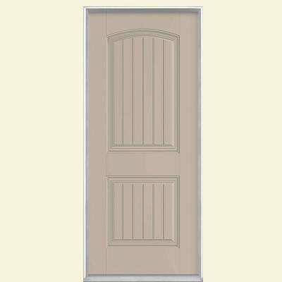 36 in. x 80 in. Cheyenne 2-Panel Right-Hand Inswing Painted Smooth Fiberglass Prehung Front Door No Brickmold